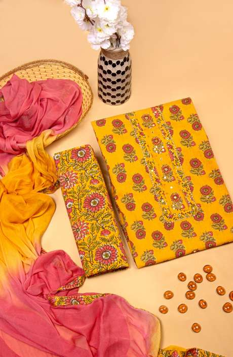 Cotton Printed Work from Homewear Salwar Kameez In Mustard & Multi - 983-2751
