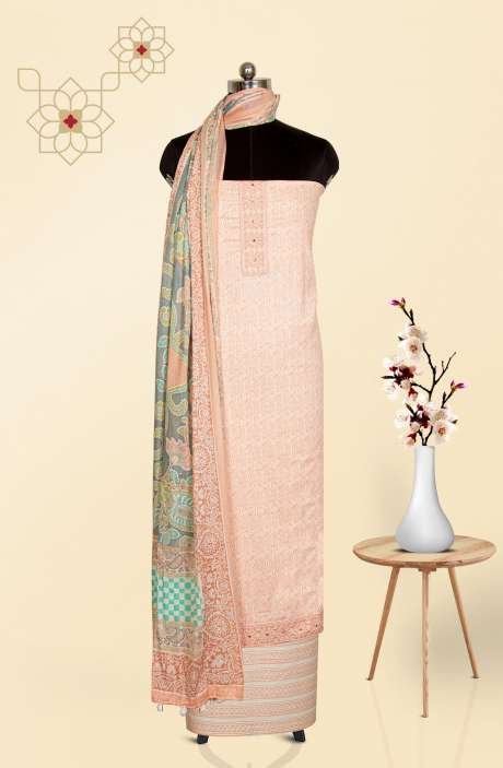 Cotton Printed Salwar Suit Set in Peach - 983-2788A