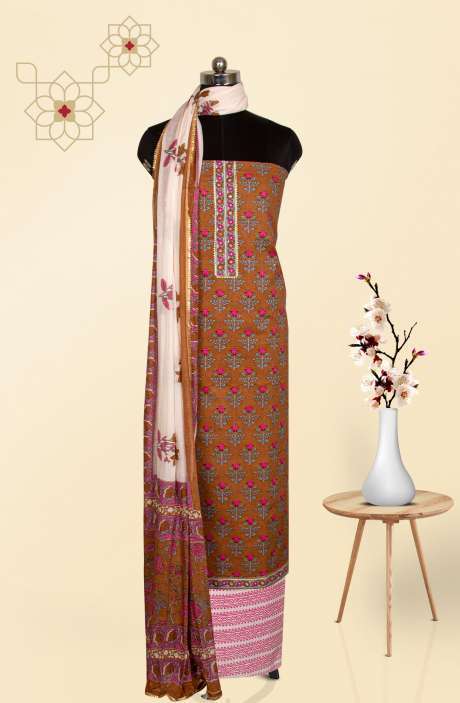 Beautiful Cotton Floral Printed Salwar Suit in Brown & Multi - 983-2902-3A