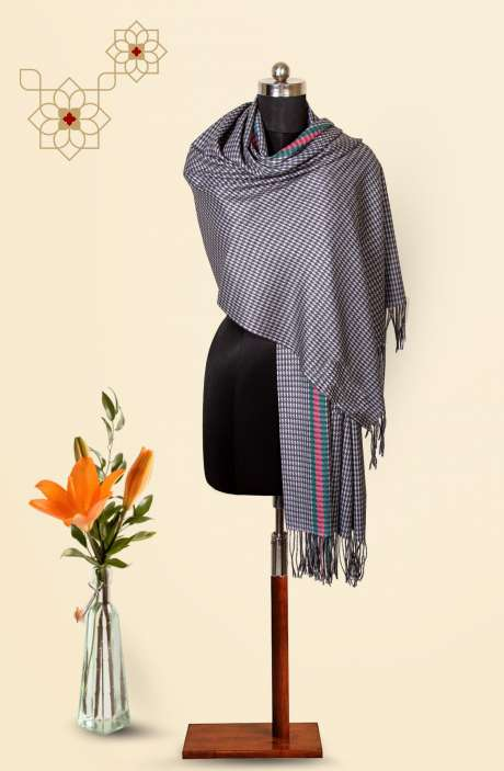 Tafta Wool Printed Stole In Grey - 09916233