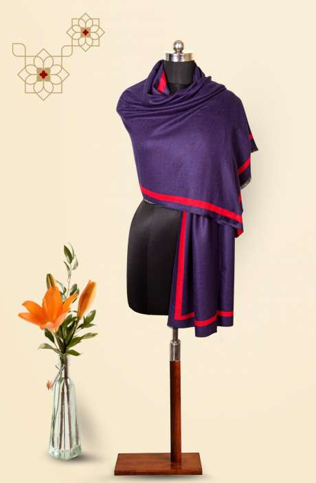 Blue-Red Tafta Wool Reversible Stole - 09916286