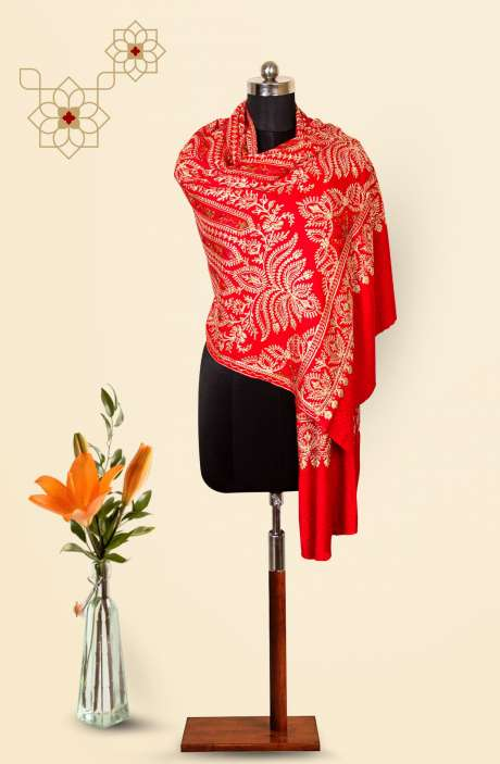 Red Viscose Wool Machine Embroidery with Swarovski Work Shawl - 09916290