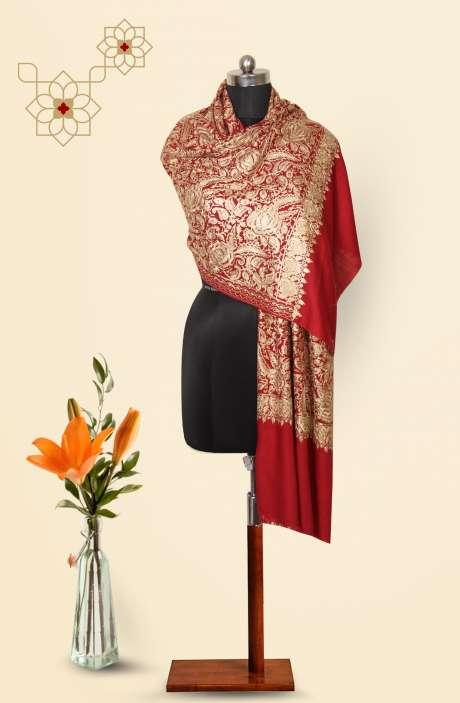Maroon Poly Wool Machine Embroidery Stole - 09916308