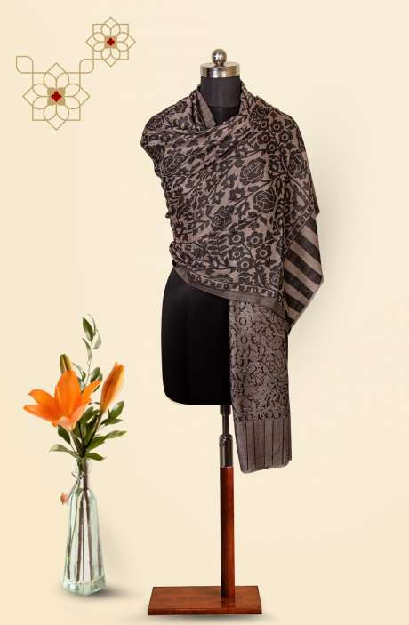 Grey-Black Fine Wool Beautiful Woven Stole - 09921002