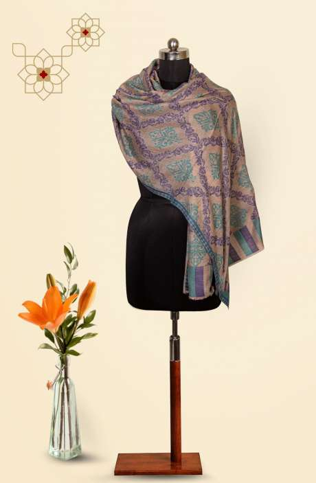 Grey Fine Wool Beautiful Woven Stole - 09921004