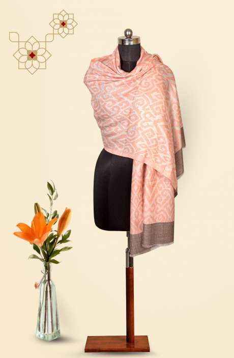 Peach-Grey Fine Wool Beautiful Woven Stole - 09921007