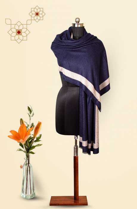 Blue-Grey Tafta Wool Trendy Reversible Stole - 09921124