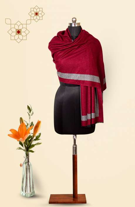 Maroon-Grey Tafta Wool Trendy Reversible Stole - 09921128