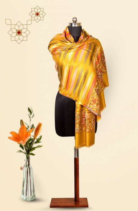 Mustard Modal Wool Beautiful Woven Stole - 09921232