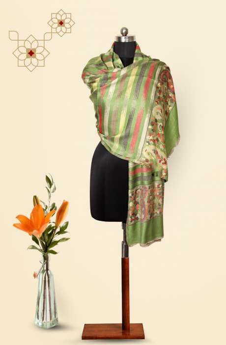 Pista Green-Multi Modal Wool Beautiful Woven Stole - 09921234