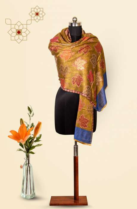 Mustard-Multi Modal Wool Beautiful Woven Stole - 09921237