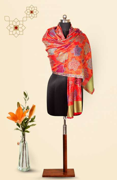 Red-Multi Modal Wool Beautiful Woven Stole - 09921240