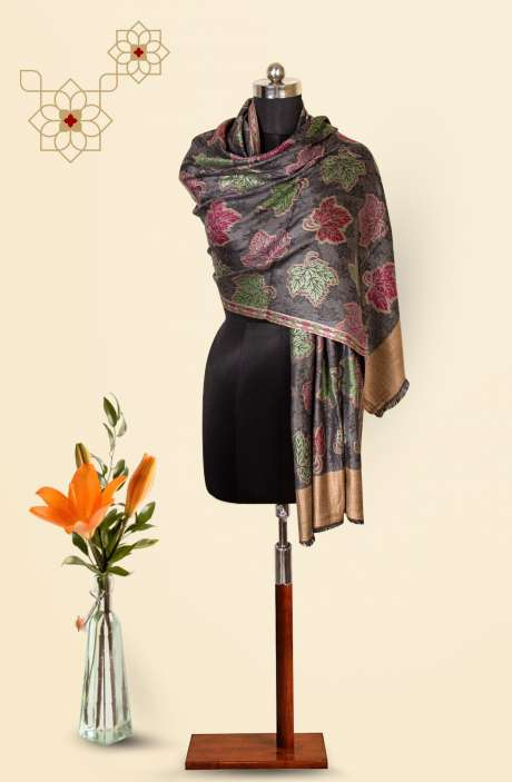 Grey-Multi Modal Wool Beautiful Woven Stole - 09921241
