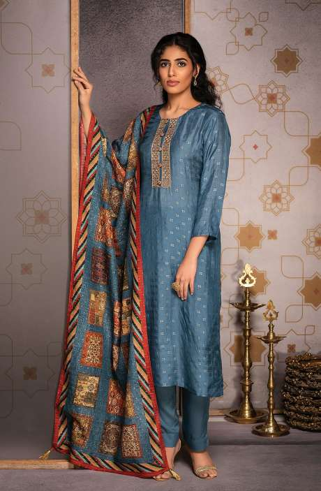 Beautiful Silk Jacquard Semi-stitched Salwar Kameez In Pastel Blue - AAB8505
