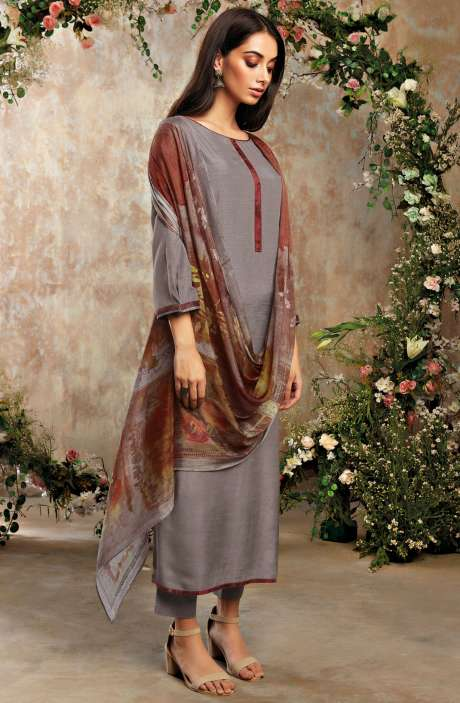 Raw Silk Unstitched Designer Salwar Suit Sets In Grey with Chinon Dupatta - AAD1191