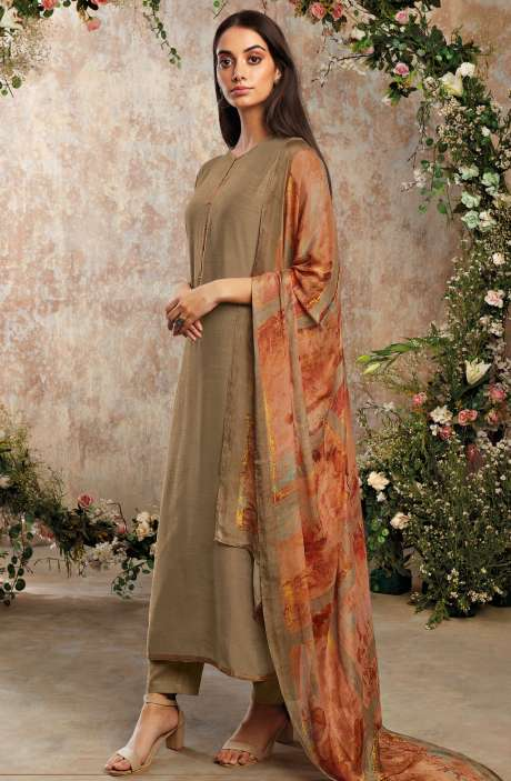 Raw Silk Unstitched Designer Salwar Suit Sets In Brown with Chinon Dupatta - AAD1192