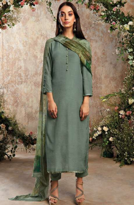 Raw Silk Unstitched Designer Salwar Suit Sets In Olive Green with Chinon Dupatta - AAD1193