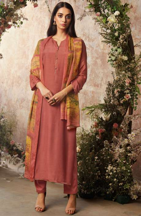 Raw Silk Unstitched Designer Salwar Suit Sets In Coral with Chinon Dupatta - AAD1195