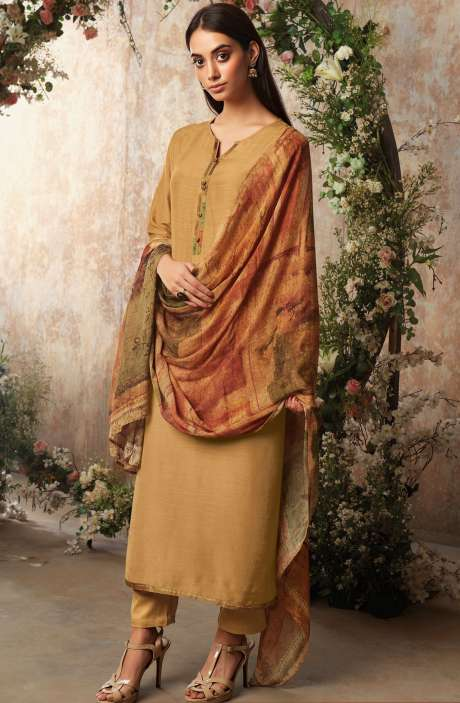 Raw Silk Unstitched Designer Salwar Suit In Brown with Chinon Dupatta - AAD1196
