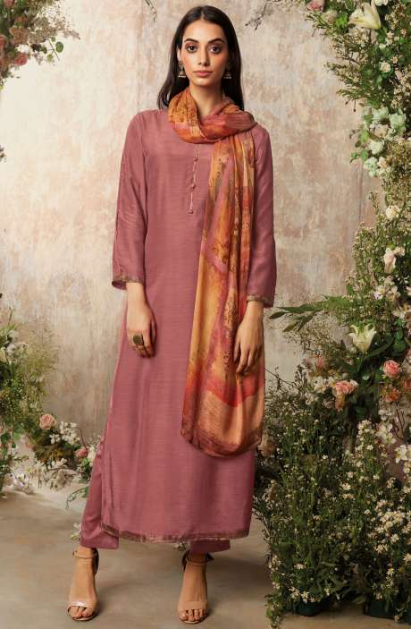 Raw Silk Unstitched Designer Salwar Suit Sets In Mauve with Chinon Dupatta - AAD1197