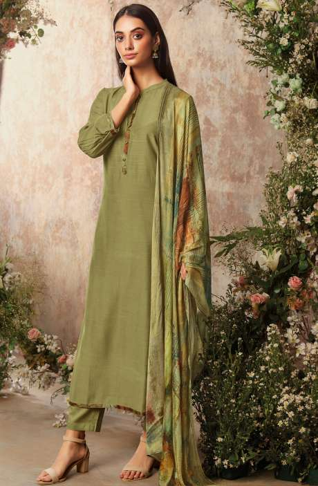 Raw Silk Unstitched Designer Salwar Suit Sets In Mehndi Green with Chinon Dupatta - AAD1198