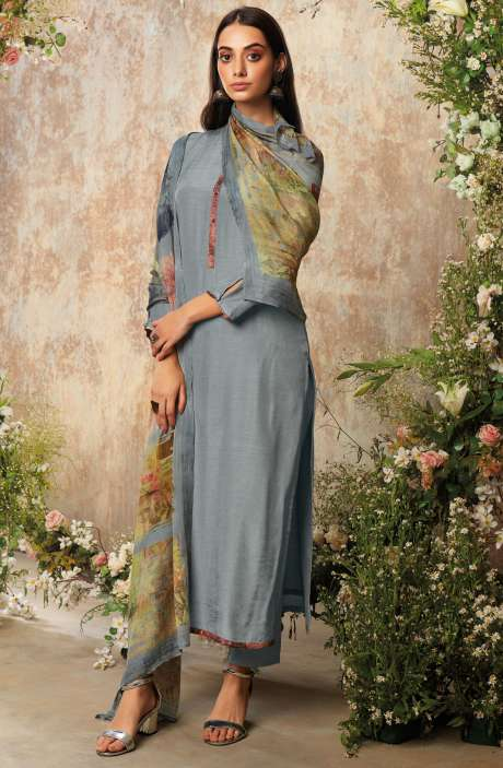 Raw Silk Unstitched Designer Salwar Suit In Grey with Chinon Dupatta - AAD1199