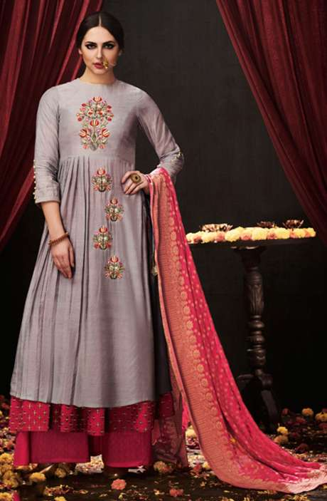 Party Wear Embroidered Modal Cotton Grey and Red Suit Sets with Embellishments - AAD1548