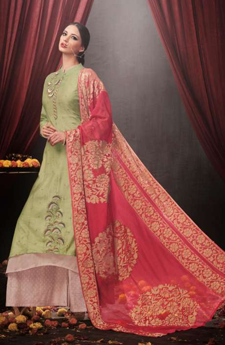 Party Wear Embroidered Modal Cotton Green and Beige Suit Sets with Embellishments - AAD1549