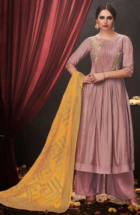 Party Wear Embroidered Modal Cotton Pastel Pink Suit Sets with Embellishments - AAD1550