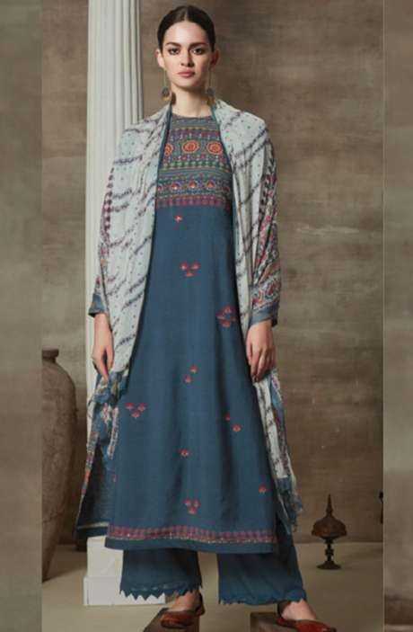 Cotton Satin Digital Printed Unstitched Suit Sets In Blue - AAG703