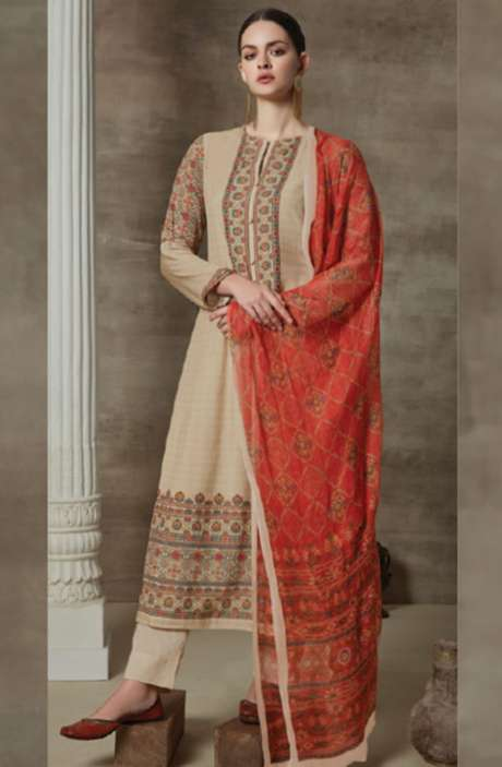 Cotton Satin Digital Printed Unstitched Suit Sets In Beige - AAG718