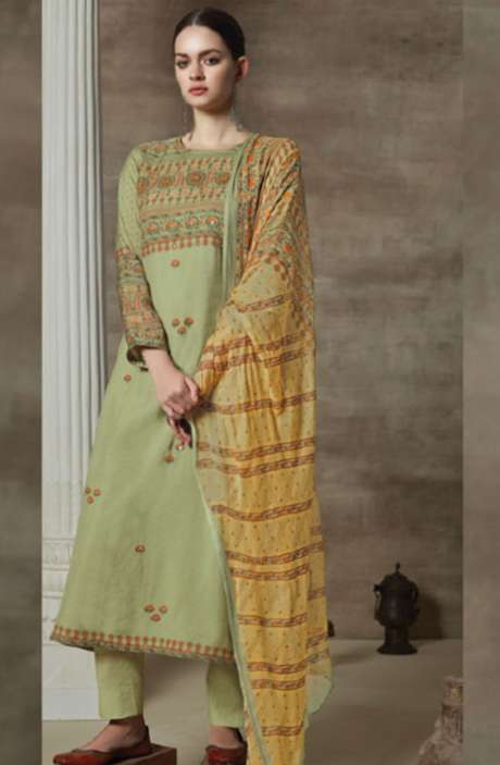 Cotton Satin Digital Printed Unstitched Suit Sets In Green - AAG726