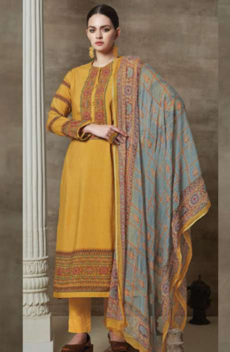 Cotton Satin Digital Printed Unstitched Suit Sets In Mustard - AAG762