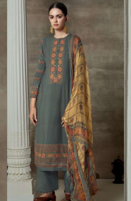Cotton Satin Digital Printed Unstitched Suit Sets In Olive Green - AAG785