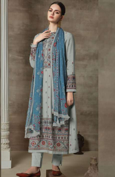 Cotton Satin Digital Printed Unstitched Suit Sets In Light Grey - AAG790