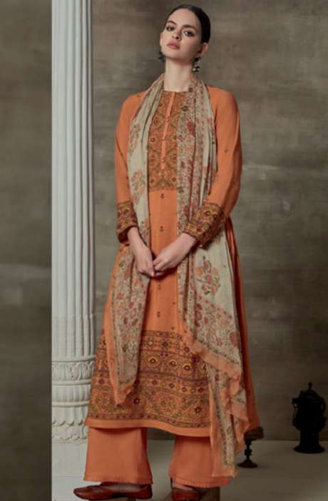 Cotton Satin Digital Printed Unstitched Suit Sets In Orange - AAG799