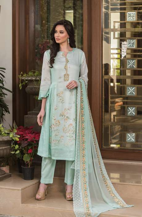 Cotton Exclusive Digital Printed Salwar Suit Set In Sea Green with Chiffon Dupatta - AAK5350