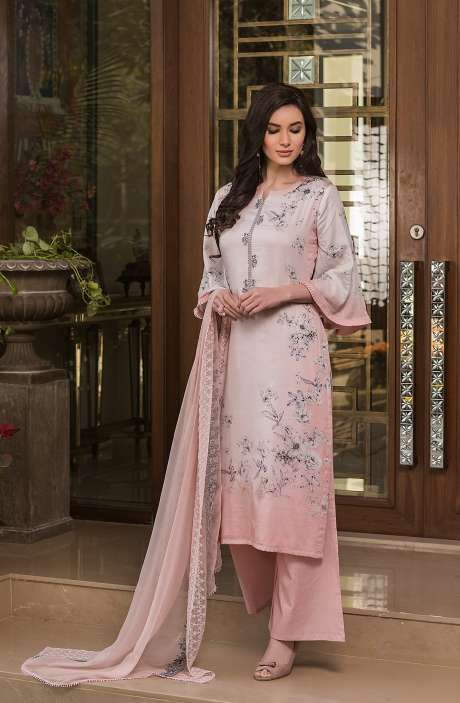 Cotton Exclusive Digital Printed Salwar Suit Set In Peach with Chiffon Dupatta - AAK5352