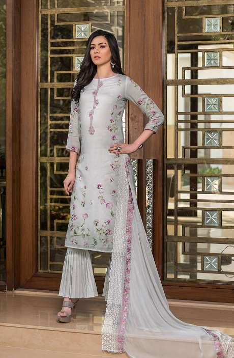 Cotton Exclusive Digital Printed Salwar Suit Set In Grey with Chiffon Dupatta - AAK5353