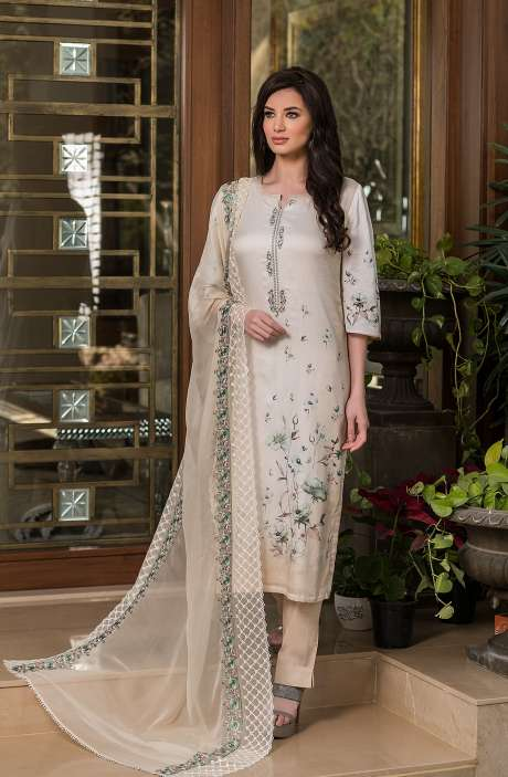 Cotton Exclusive Digital Printed Salwar Suit Set In Cream with Chiffon Dupatta - AAK5354