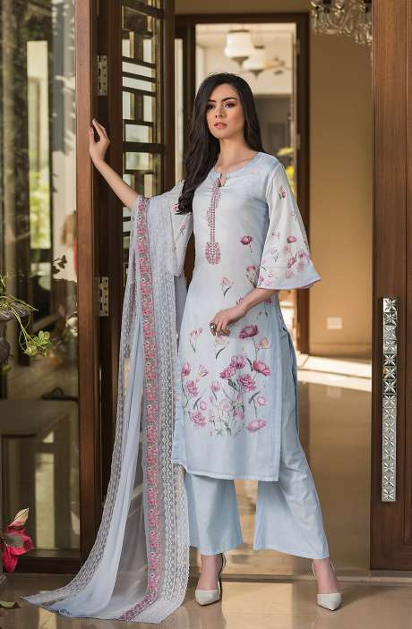 Cotton Exclusive Digital Printed Salwar Suit Set In Pastel Blue with Chiffon Dupatta - AAK5355