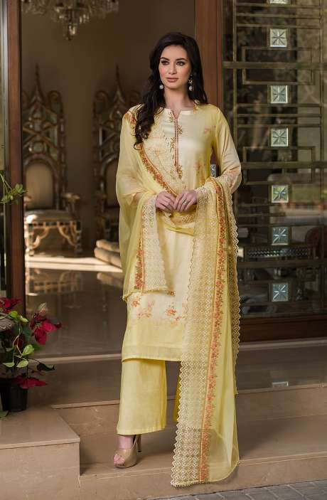 Cotton Exclusive Digital Printed Salwar Suit Set In Yellow with Chiffon Dupatta - AAK5356