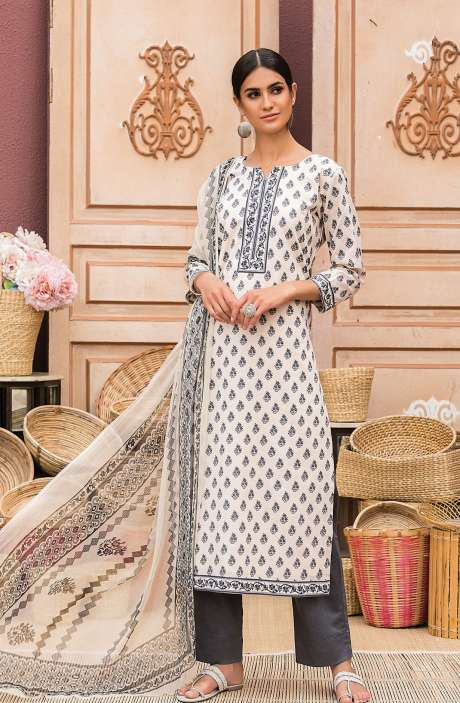 Cotton Digital Printed Salwar Suit Set In Beige & Black - AAN1440