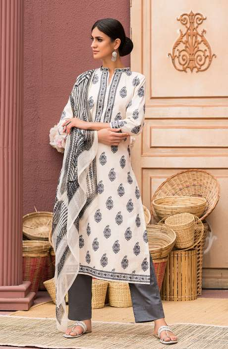 Cotton Digital Printed Salwar Suit Set In Beige & Black - AAN1442