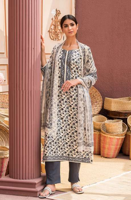 Cotton Digital Printed Salwar Suit Set In Beige & Black - AAN1443