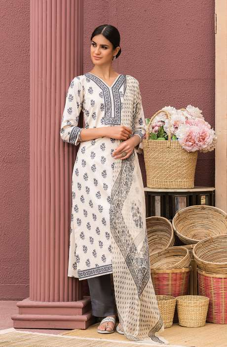Cotton Digital Printed Salwar Suit Set In Beige & Black - AAN1444