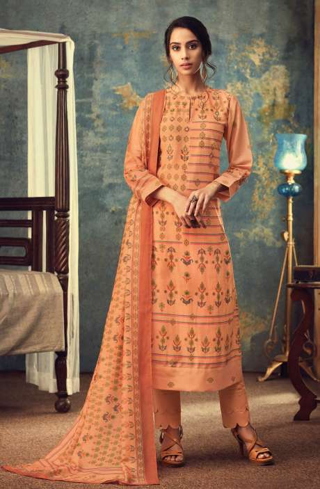 Modal Cotton Digital Printed Salwar Kameez In Orange - AAR624