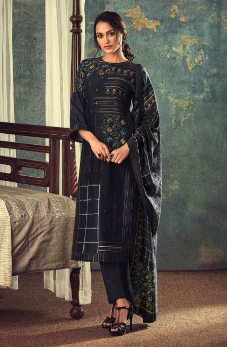 Modal Cotton Digital Printed Salwar Kameez In Black - AAR670