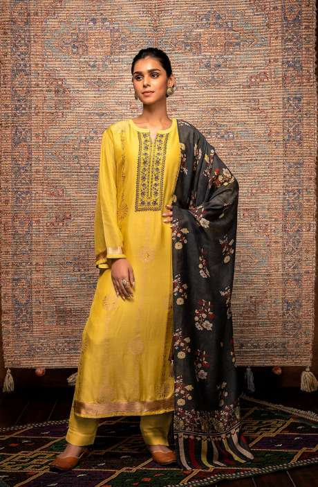 Yellow Exclusive Unstitched Muslin Silk Suit with Beautiful Dupatta - AAY9180