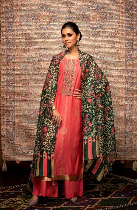 Coral Exclusive Unstitched Muslin Silk Suit with Beautiful Dupatta - AAY9182